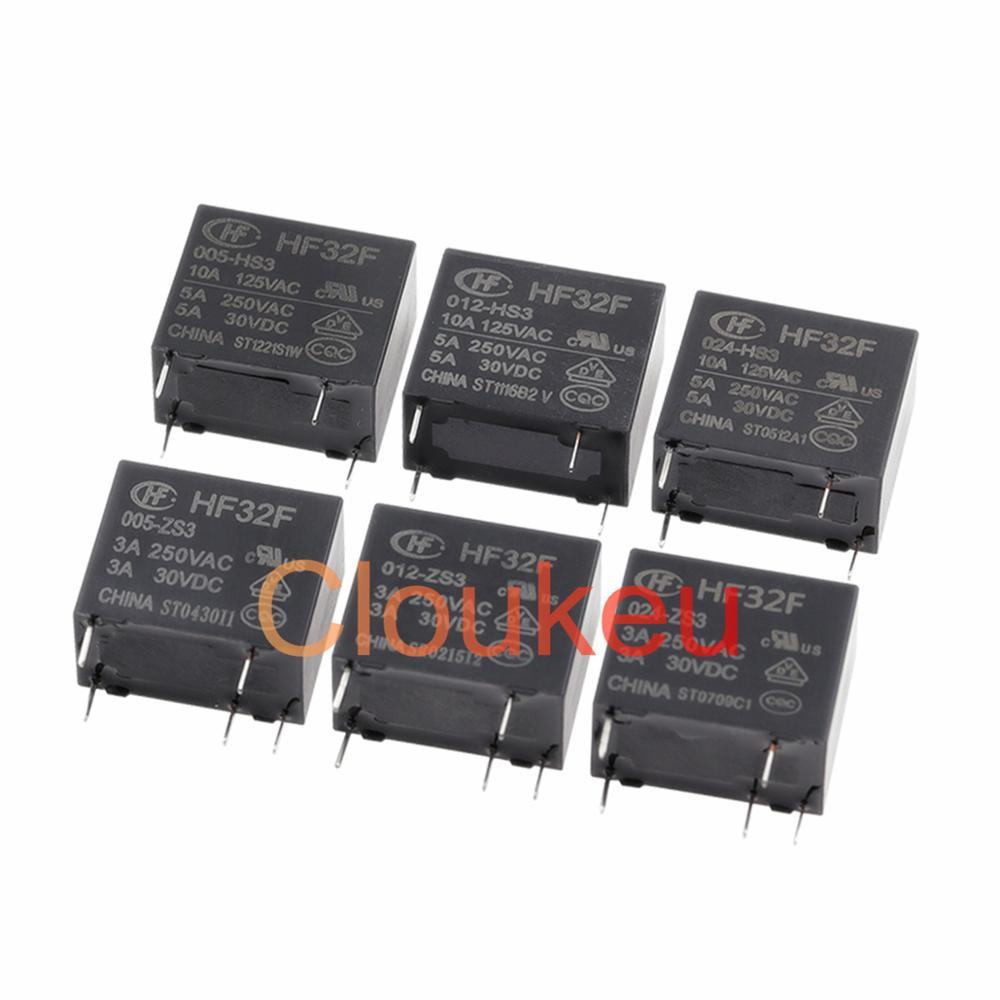 Relé HF32- JZC-32F-005 009 012 024-HS3 ZS3 3A 5A 4pin 5pin 5V 9V 12V 24VDC