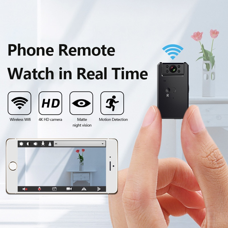 1080P كاميرا لاسلكية صغيرة واي فاي 4K HD كاميرا مراقبة للمنزل IP CCTV مراقبة الأشعة تحت الحمراء للرؤية الليلية كشف الحركة مراقبة الطفل P2P