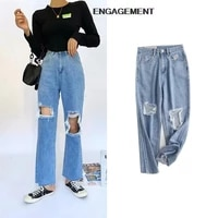 engagement za 2021 trafaluc street hipster ripped soft fabric denim trousers autumn girl high waist straight leg pants