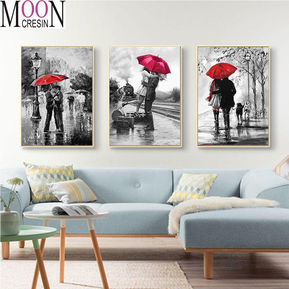 3 pcs diamond embroidery icons red Umbrella Couple Diamond painting  5D DIY cross Stitch Full Square round mosaic art,