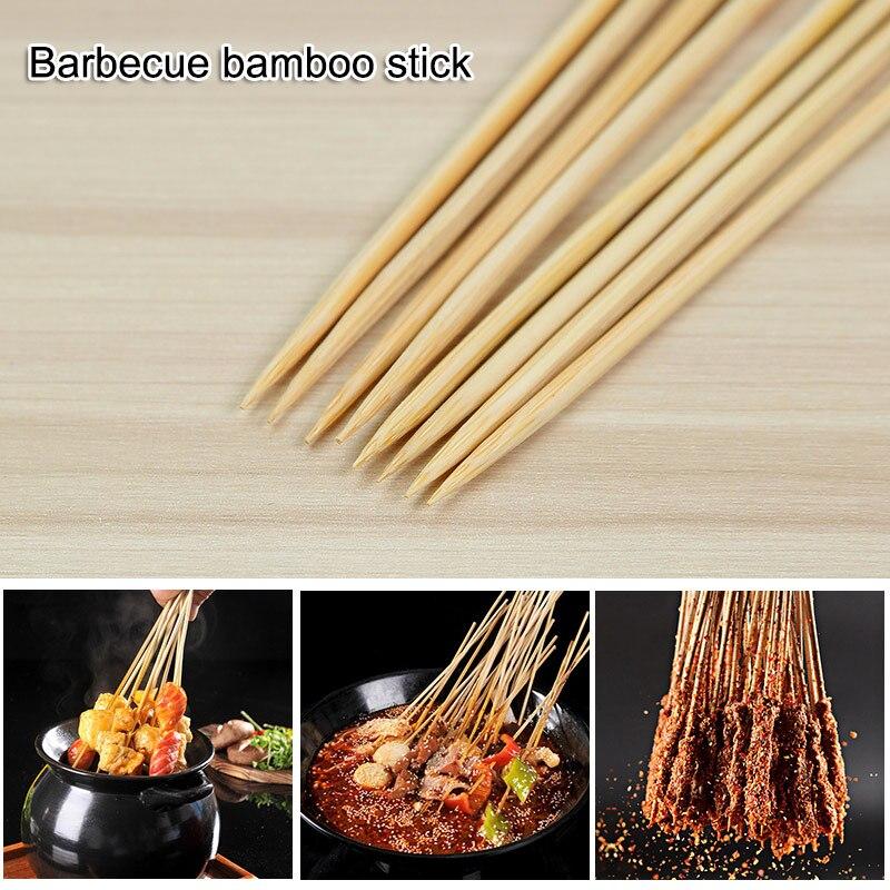 55/90 Uds pinchos de madera Natural de bambú pinchos barbacoa palillos accesorios de barbacoa herramienta para hornear