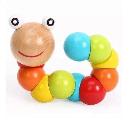 Juguetes Montessori para dedos, forma intercambiable, gusano de madera, marioneta giratoria, oruga, niños, colorido cognición, Playmate, divertido regalo educativo