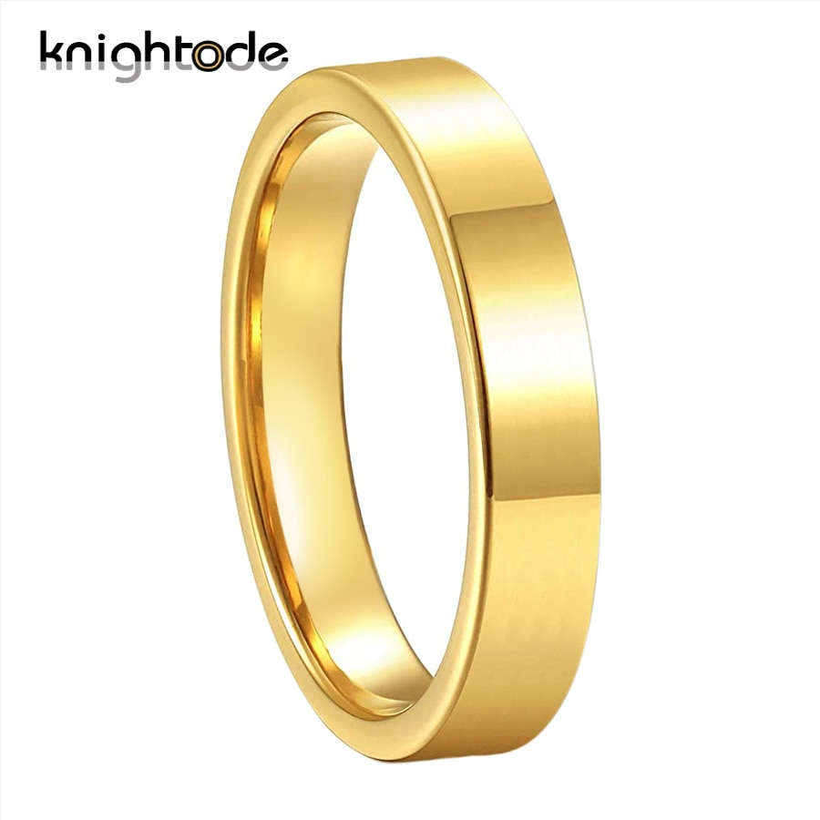 4mm High Quality Gold Tungsten Wedding Bands For Women Men Engagement Rings Little Fnger Ring Flat Polished Comfort Fit