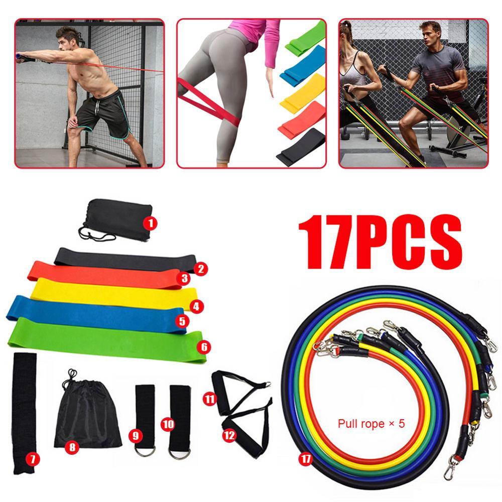 17 pçs bandas de resistência conjunto yoga exercício fitness banda de borracha loop tubo bandas ginásio fitness exercício pilates yoga tijolo