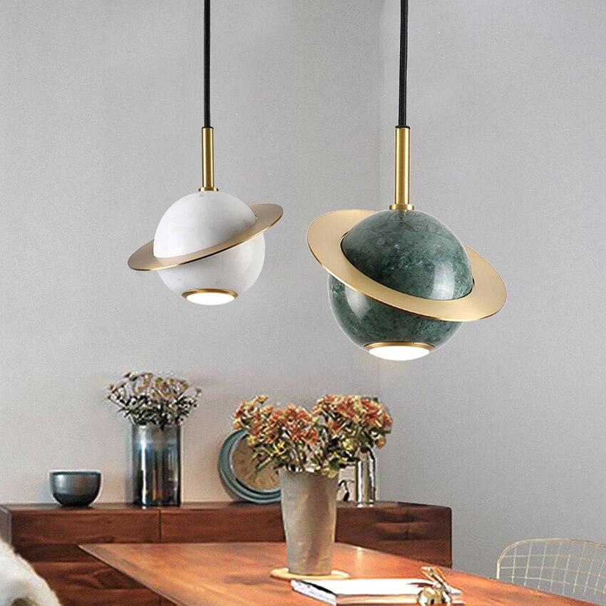 Nordic ins marble pendant light modern creative Cosmic planet shape dining room bar kitchen fixture bedroom bedside hanging lamp