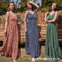 traf 2021summer new style v neck sling dress young middle aged waist waist floral skirt sling adjustable fashion big swing dress