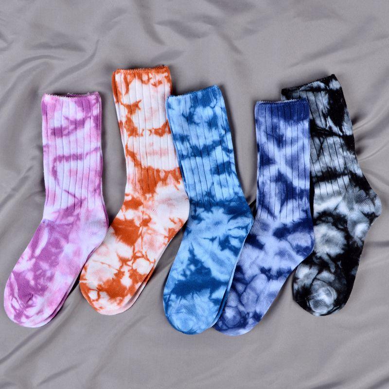 Nuevos calcetines teñidos para hombre, calcetines tejidos en algodón transpirables, divertidos calcetines Harajuku Hip Hop Happy, par de calcetines para correr, ciclismo, senderismo, Sox