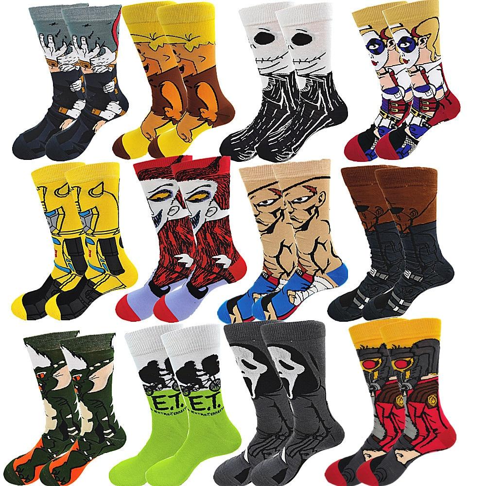Пара мужских веселых забавных зимних теплых носков, Длинные мужские носки клоуна из мультфильма аниме, крутые короткие носки, уличная мода, ...