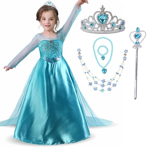 Girls Elsa 2 Princess Dress For Kids Halloween Party Snow Queen Cosplay Costume  4-10Y Children Fancy Carnival Disguise Dress Up