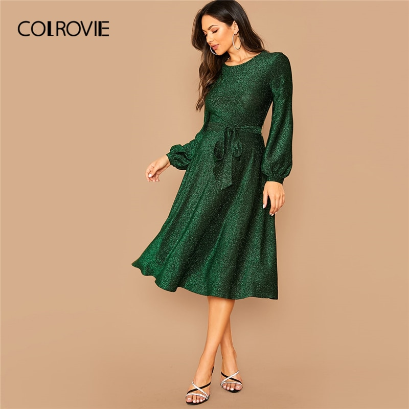 COLROVIE verde auto Belted Balloon Sleeve Glitter Vestido Mujer alta cintura sólido Midi vestido 2019 de manga de obispo vestidos glamurosos