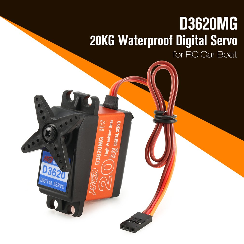 1pcs Digital Servo 20KG 180' Waterproof Metal Steering Digital Metal Gear Core Servo with High Torque for RC Car Boat Model Toy enlarge