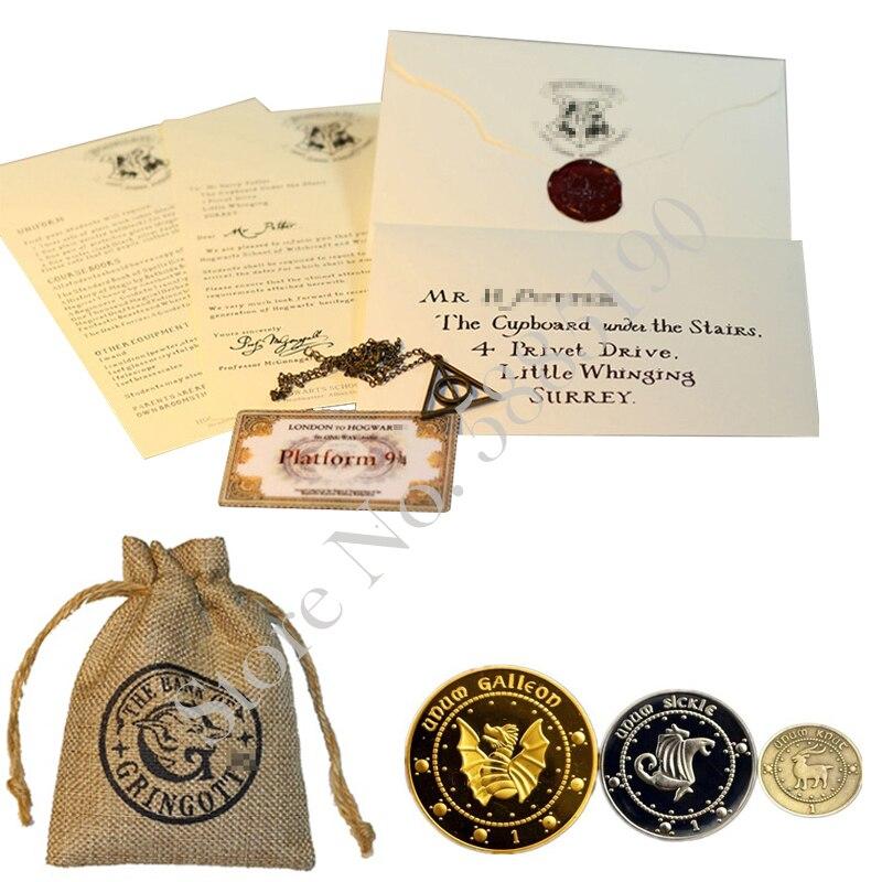 Harry hogwart aceitação carta assistente escola bilhete deathly hortaliças colar e hp banco moedas e saco assistente coleção prop