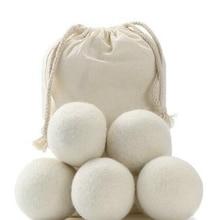 6 sztuk/partia 2 cm/3 cm naturalne kulki do suszenia wełny tkaniny z pierwszego tłoczenia wielokrotnego użytku do zmiękczania pranie 6-Pack BBB0365