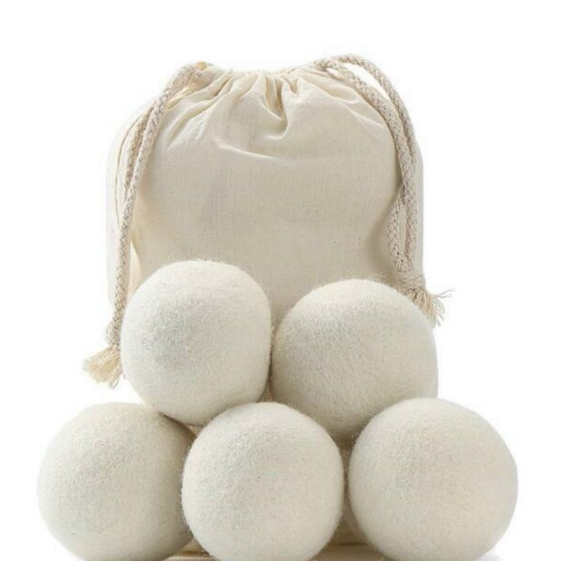 Lote de 6 bolas secadoras de lana Natural de 2cm/3cm, suavizante de tela virgen reutilizable, paquete de 6 bolas BBB0365