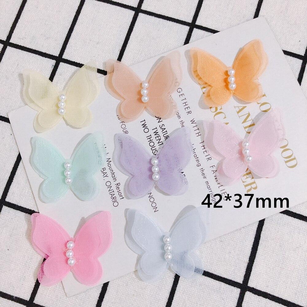 Bricolaje novedad de verano de dibujos animados hilo nieve mariposa clip de perla para el cabello de los niños accesorios para el pelo diadema accesorios material 10 Uds