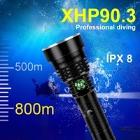 new xhp90 3 most powerful diving flashlight xhp90 rechargeable underwater lantern ipx8 waterproof dive torch use 18650 or 26650