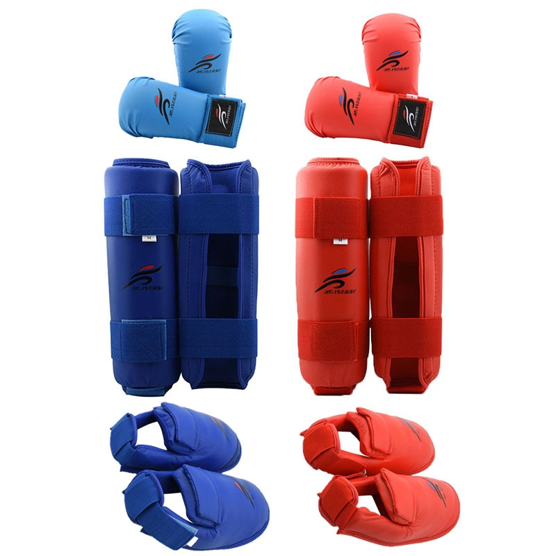 Leg Hand Foot Protector Taekwondo Sparring Gear Set Shin Guard Women Bands Palm Boxing Gloves Karate Shoes MMA Men Child Kids