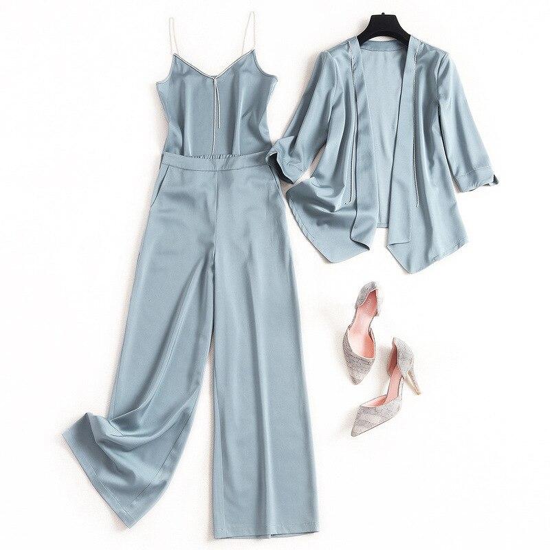 Moda de Primavera 2020, traje de pantalón de satén para oficina, camisa con tirantes para mujer + Top corto con abrigo Irregular + Pantalones de pierna ancha, conjunto de 2 3 piezas