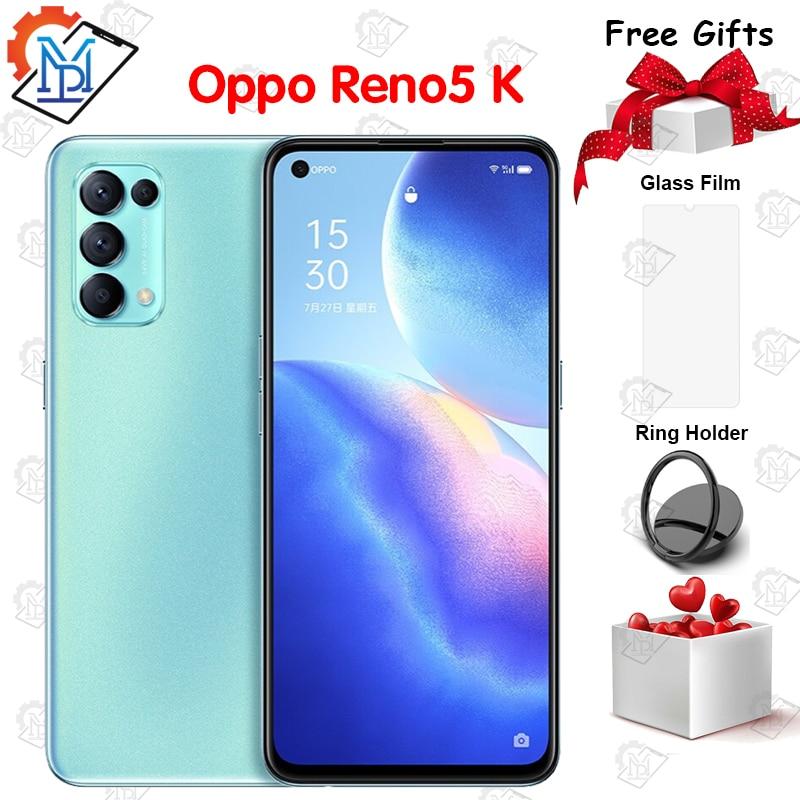 Оригинальный OPPO Reno5 K 5G мобильный телефон 6,43 8G + 128G Snapdragon 750G Android 11 64MP Камера 4300 мА/ч, 64W Супер Зарядное устройство смартфона