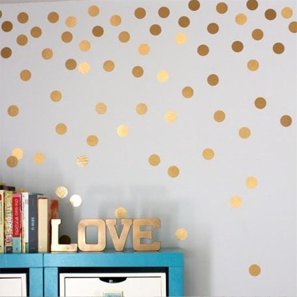 Pegatinas de pared creativas decoración para habitación de niños pegatinas de pared de puntos redondos adornos dorados cosas elegantes 200 calcomanías 2in # g8