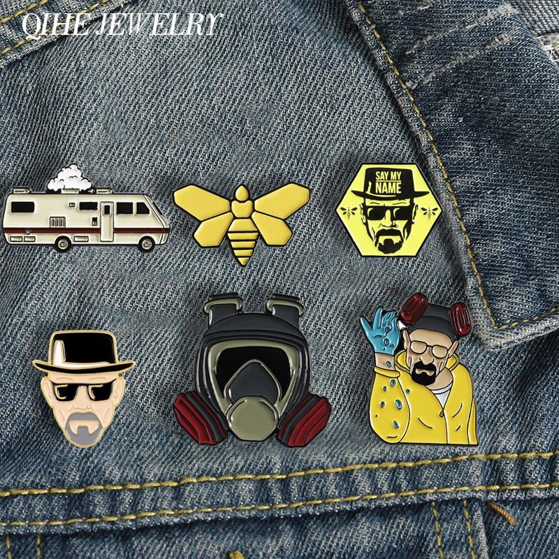 QIHE ювелирные изделия значок-киллер для джентльменов, эмалевые значки BR BA, металлические броши для фанатов фильмов, Значки для джинсовой оде...