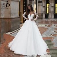 satin beach wedding dress a line lace appliques v neck long sleeve boho bridal dress cheap wedding gowns custom made
