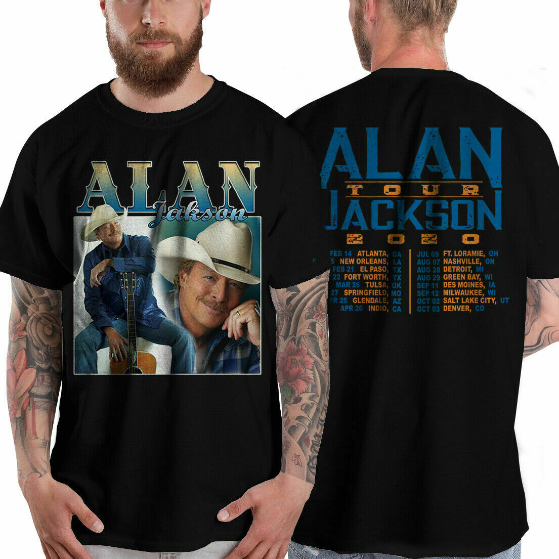 Новинка 5599 футболка Alan Jackson Us Tour Date 2020 размер S 5Xl