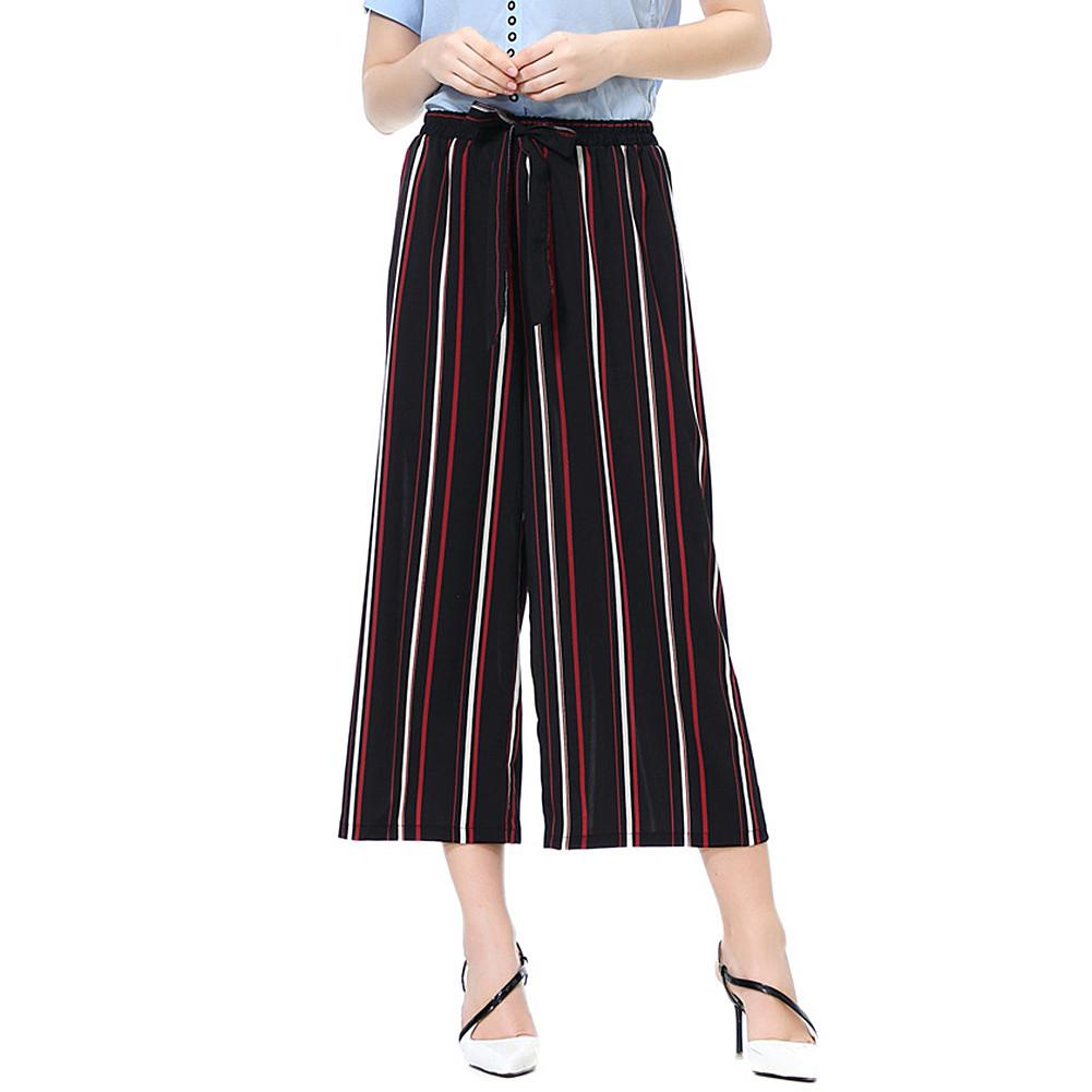 Fashion Women Solid Color/Striped Drawstring Wide Leg Trousers Loose Fit Pants Comfortable
