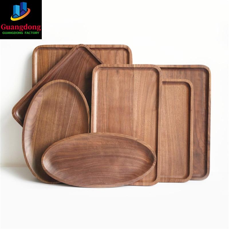 الجوز خشب متين أطباق أطباق الخشب الفاكهة النمط الياباني تخدم لوحة مستديرة خشبية الصحن صينية الشاي الحلوى عشاء مجموعة أدوات المائدة