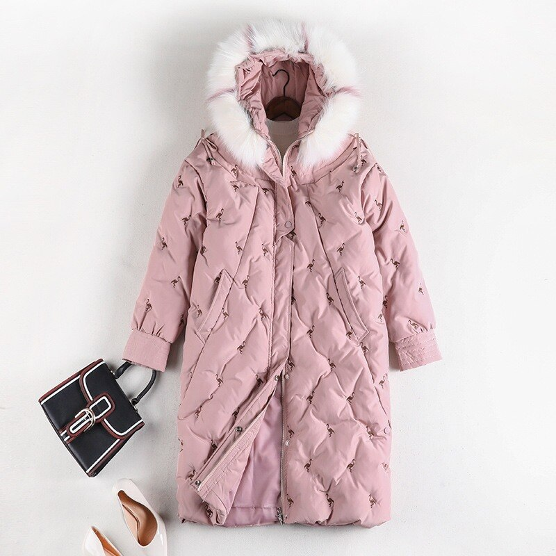 Fashion Plus Size Women's Cotton Coat Mid-length Thick Korean Version 2020 Winter Fat Sister Big Fur Collar Cotton Coat