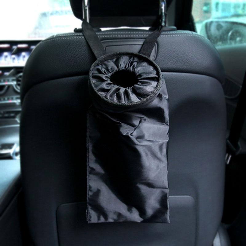 Asiento de coche portátil de vuelta de bolsa de basura de coche papeleras automáticas a prueba de fugas polvo funda, soporte caja de estilo de coche de la tela de Oxford