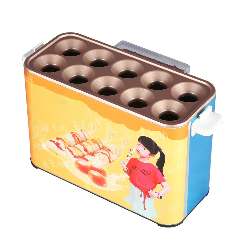 Electric Egg Sausage Machine Automatic Commercial Ten-hole Egg Roll Maker Egg Frying Machine Food Processing Snack Cooker