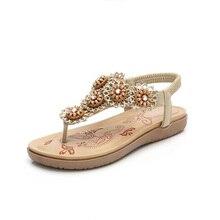 New Cute Elegant Flowers Roman Shoes Casual Fashion Low Heel Women Open Toe Sandals Large size Crystal Beach Sandals