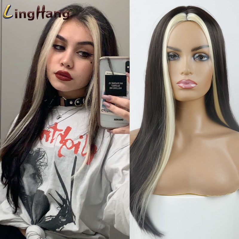 Peluca larga recta negra Linghang para mujer, ambos lados, pelo dorado, parte media, resistente al calor, peluca de Cosplay ondulada para niña