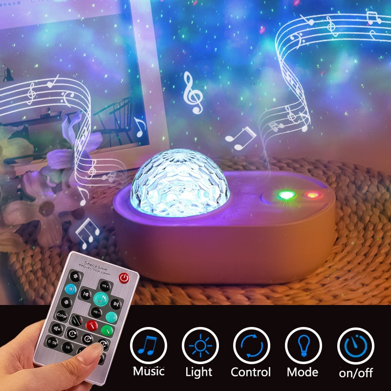 Star Projector Nightlight Spaceship Night Light Galaxy LED Sky Projection Lamp Gift For Kids Bedroom Musical Bluetooth Speaker