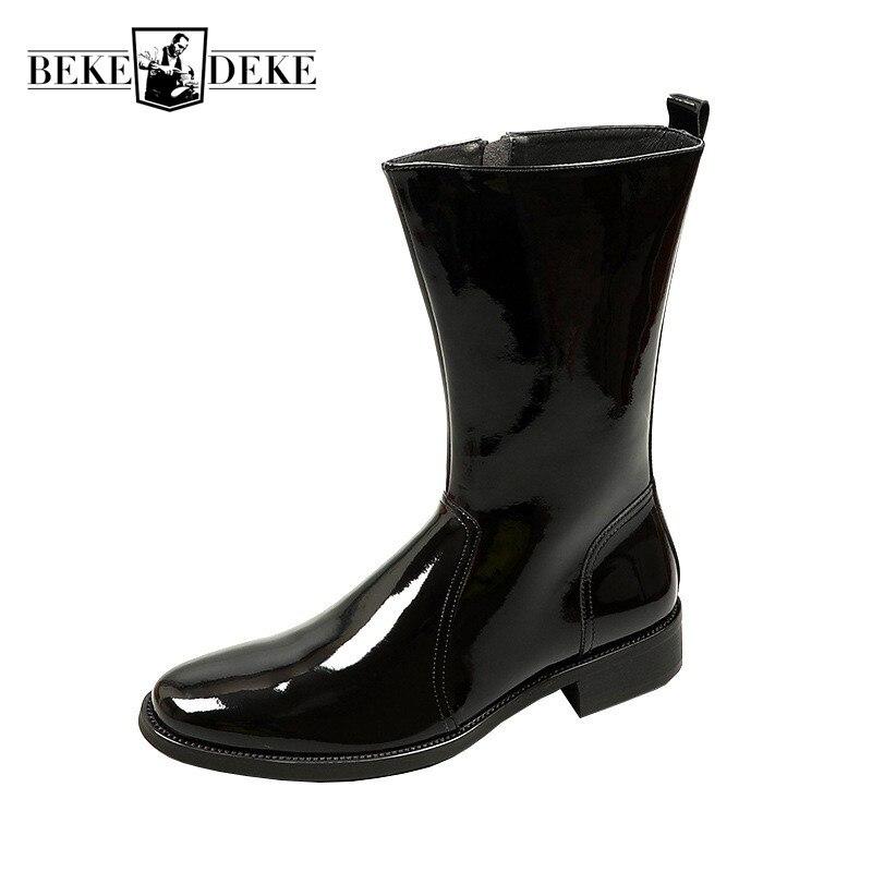 الرجال جلد طبيعي عالية أعلى الأحذية العلامة التجارية الأعمال تشيلسي أحذية الشتاء أشار تو زيبر منصة الأحذية حذاء أسود 37-44
