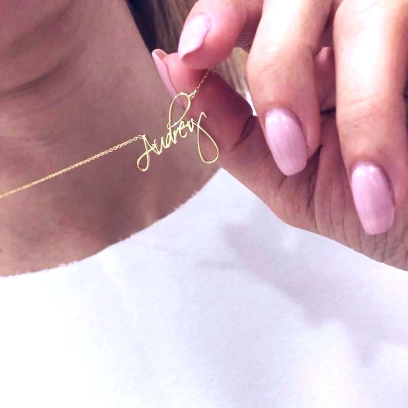 Ожерелье с именем на заказ золотое ожерелье с именем на заказ кулон с именем на заказ рождественские подарки на день рождения для нее для ма...
