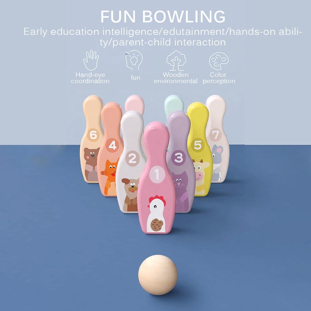 خشبية البولينج الكرة مجلس لعبة لعبة اللون 9 البولينج دبوس 1 الكرة مجموعة متعة الأسرة داخلي التفاعل لعبة طفل التعليمية الرياضة لعبة