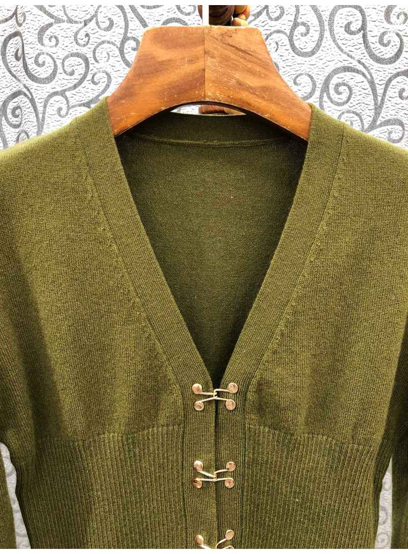 2021 Autumn Winter Fashion Wool Cardigans High Quality Women Hook Button Front Long Sleeve Casual Army Green Cardigan Tops Coat enlarge