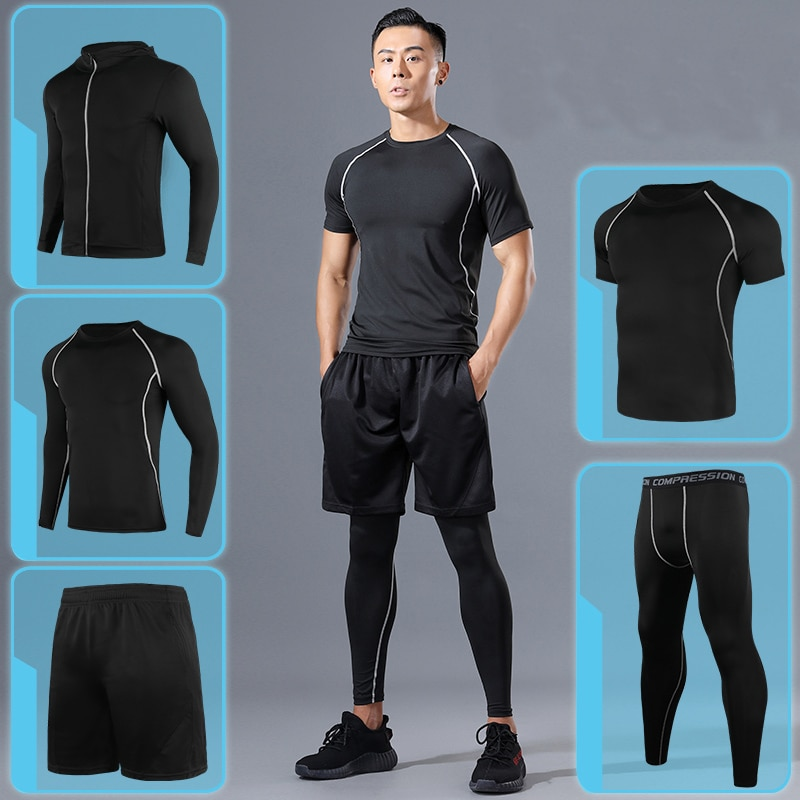 Men Sportswear Compression Sport Suits Quick Dry Running Sets Clothes Sports Joggers Training Gym Fi
