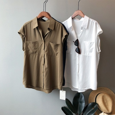 Women Shirt 2021 Summer New Design Sense Niche Shirt Women Fashion OL Style Leisure Loose Sleeveless Women Shirt Top