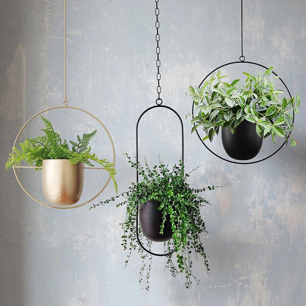 المعادن معلقة وعاء النبات شماعات سلسلة جدار معلق زارع سلة زهرة وعاء النبات حامل المنزل حديقة شرفة الديكور