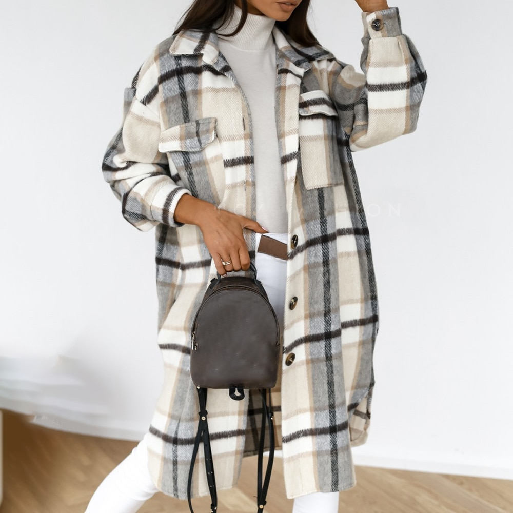 2020 Winter Checked Women Jacket Turn Down Overcoat Warm Plaid Long Coat Oversize Thick Woolen Blend