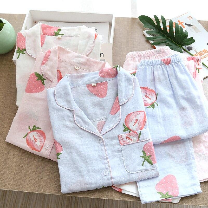 Spring and Autumn Japanese-style Pajamas Hipster Strawberry Gauze Cotton Long Sleeve Cotton Clothing Long Sleeve Pajamas Suit enlarge