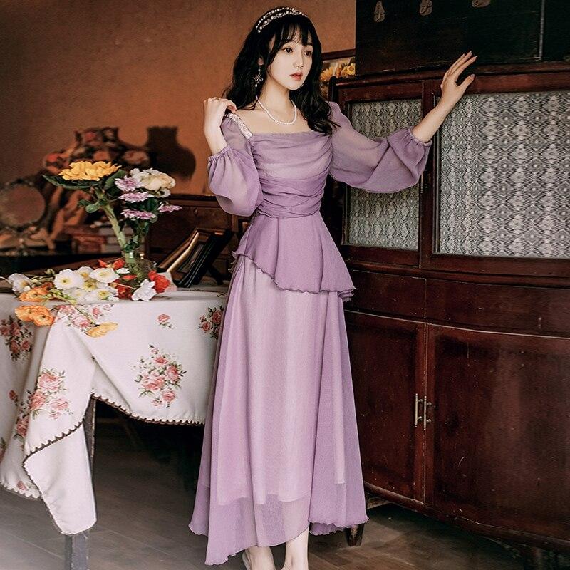 فستان شيفون طويل نسائي ، فستان صيفي مطرز ، طول الكاحل ، مقاس مناسب ، كم طويل ، حفلة مسائية ، أحمر ، 2021