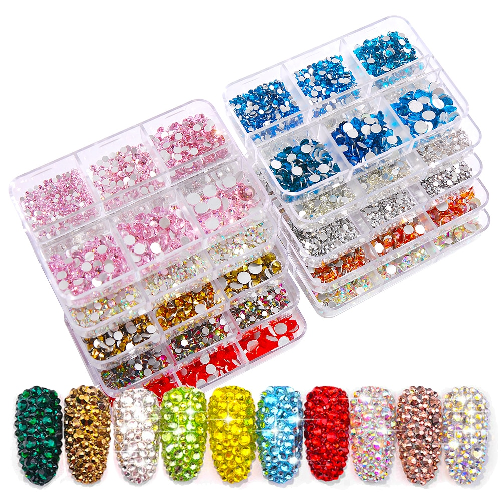 1 Box Multi-Size Crystal Nail Art Rhinestone White Gold Red Clear All Color Diamond Gem 3D Glitter D