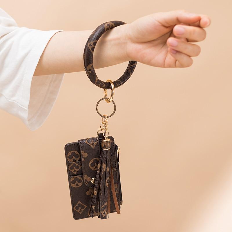 New Card Bag Wallet PU Leather Bracelet Key Chain Vintage Print Wallet Coin Fashion Bag Key Chain Pe