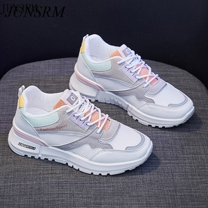 2021 Women Sneakers Summer Fashion Girl Student Breathable Thin Mesh Lace-up Casual Sport Running Shoes Trainers 2 Colors