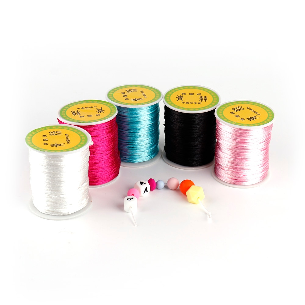 TYRY.HU 80 meter Baby Chewable Necklace Accessories 1.5mm Satin Silk Nylon Cord for Silicone Teethin