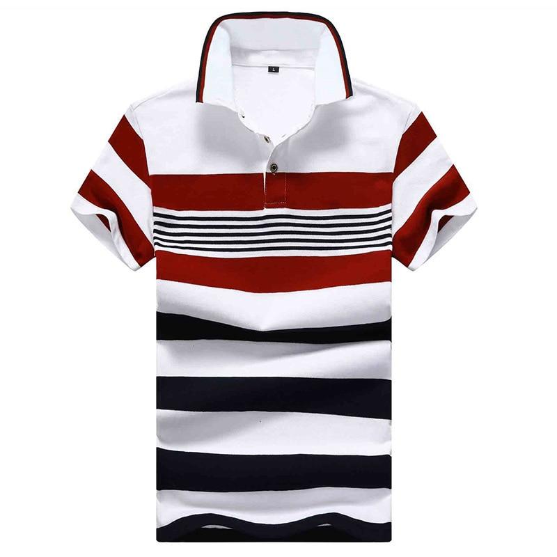 Men Polo shirt Brand cotton Shirt Short Sleeve Summer stripe Polos Streetwear Casual Fashion tops